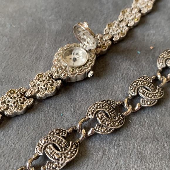Vintage Silver Marcasite Watch & Bracelet EUC
